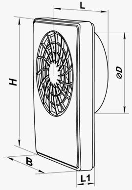 Чертеж с размерами вентилятора