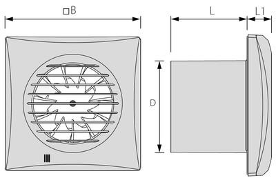 Размеры вентилятора вид спереди и сбоку