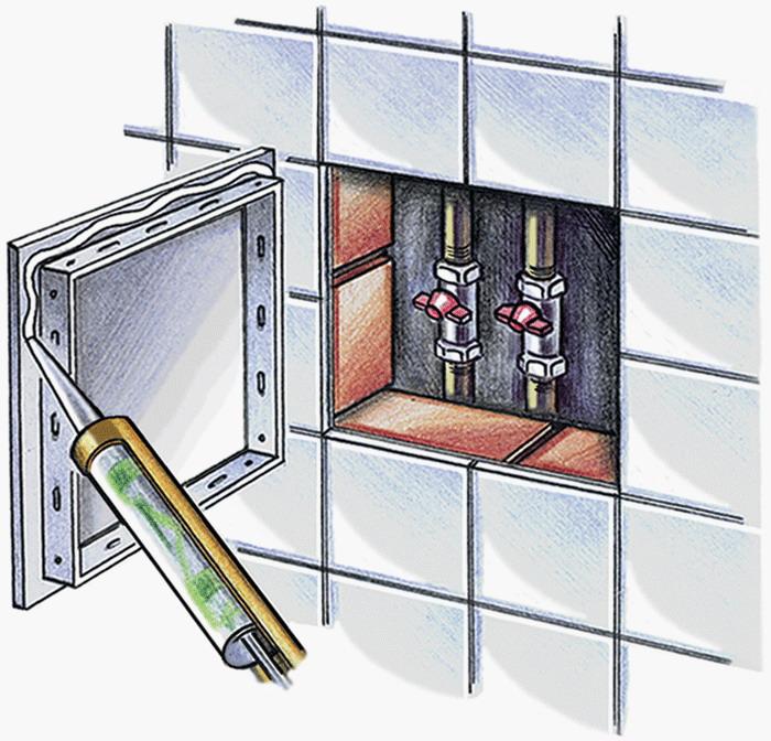 Пример монтажа ревизионной дверцы на силикон