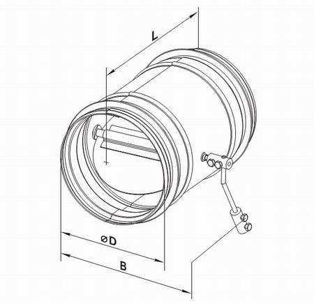 Чертеж с размерами гравитационного круглого клапана