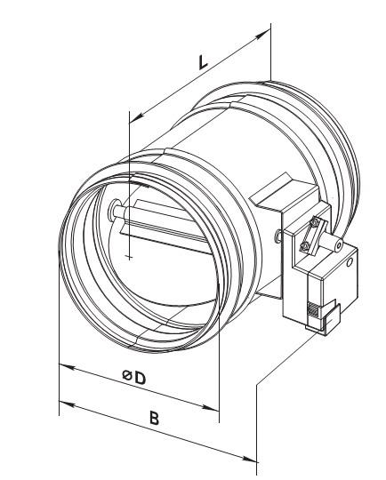 Размеры клапана с приводом круглого