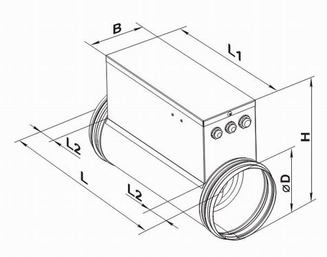 Электрический канальный нагреватель чертеж и размеры