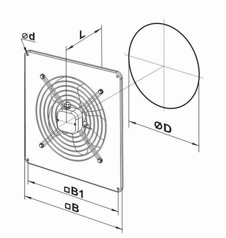 Чертеж и габаритные размеры осевого вентилятора