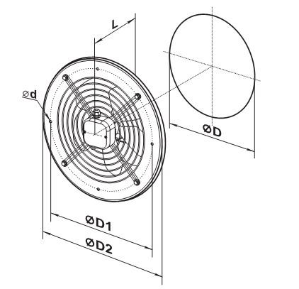 Чертеж круглого осевого вентилятора