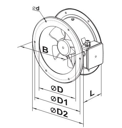 Чертеж и размеры вентилятора серии ВКФ