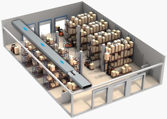 Вентиляция склада с помощью вентиляторов тт