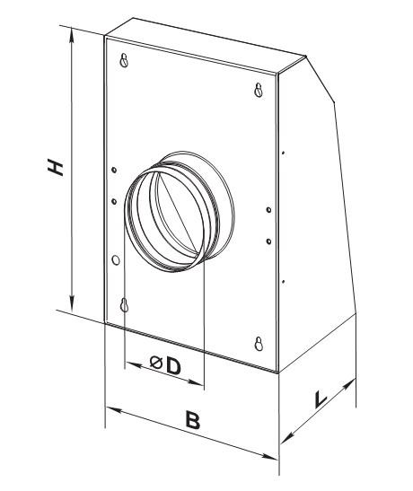 Габаритные размеры и чертеж вентилятора Vents VCN
