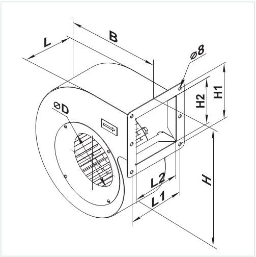 Чертеж вентилятора с присоединительными размерами