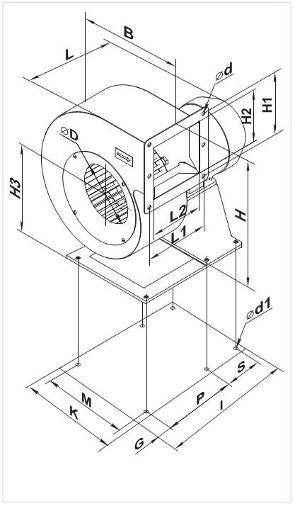 Чертеж вентилятора с размерами подсоединения