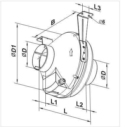 Чертеж с размерами вентилятора Вентс ВК 125