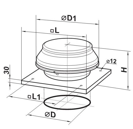 Чертеж крышного вентилятора с диаметром 200 мм