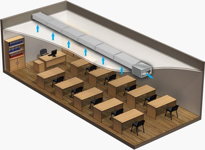 Пример вытяжной вентиляции в классе школы на базе вентилятора 600х350
