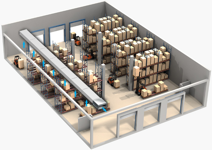 Пример использования вентилятора для вытяжки на складе
