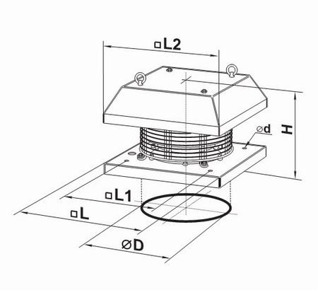 Чертеж вентилятора с подсоединительными размерами