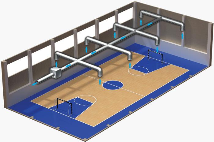 Пример вентиляции спортивного зала вентилятором