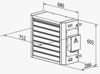 Чертеж с размерами отопительных агрегатов аое