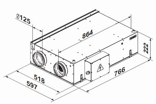 Габаритные размеры и чертеж приточно-вытяжной установки