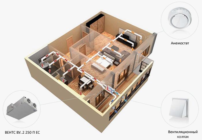 Пример приточно-вытяжной вентиляции офиса установкой