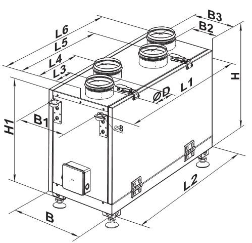 Габаритный чертеж приточно-вытяжной установки с размерами