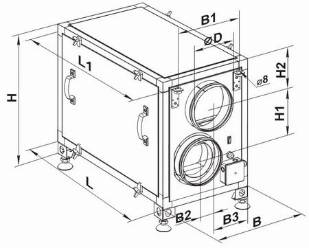 Размеры габаритов установки и подсоединения