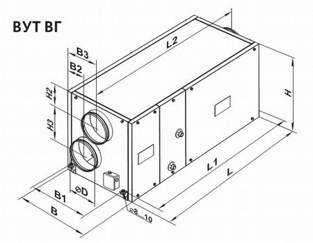 Чертеж приточно-вытяжной установки ВУТ ВГ