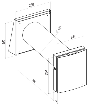 Чертеж и размеры проветривателя с рекуператором