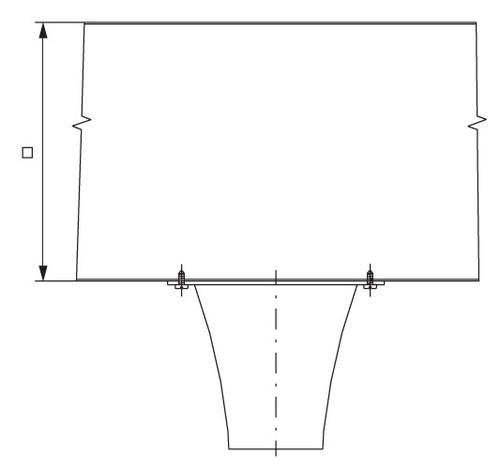 Монтаж соплового диффузора с прямоугольным воздуховодом